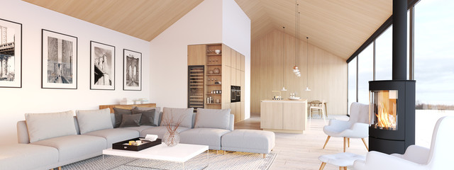 new modern scandinavian loft apartment. 3d rendering © 2mmedia