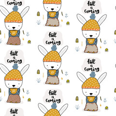 Bunny sitting and drinking a hot drink in the fall on the stump. Seamless autumn pattern. Vector