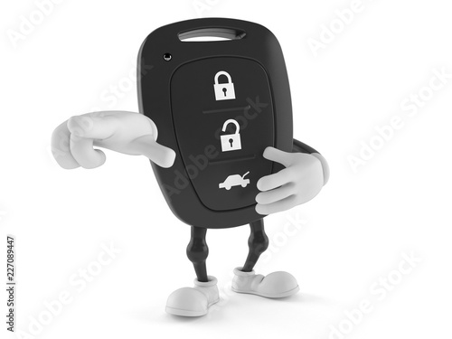 Car remote key character pointing finger