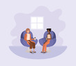 women sitting on sofa with coffee avatar character