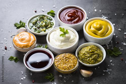 Leinwandbild Motiv Sauce set assortment - mayonnaise, mustard, ketchup and others.