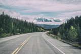 Empty highway heading up to mountains,Alberta,Canada - 227095282