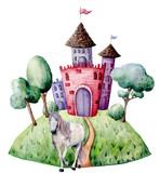 Watercolor fairy tale card witn unicorn and castle. Hand painted green trees and bushes, castle, unicorn isolated on white background. Forest illustration for design, print. - 227106238