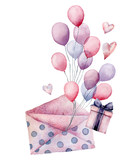 Watercolor birthday decor card with envelope airballon. Hand painted gift boxes, air balloons isolated on white background. Pastel decor collection. Holiday illustrations. - 227106408