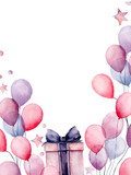 Watercolor birthday decor card with box and airballon. Hand painted gift boxes, air balloons isolated on white background. Pastel decor collection. Holiday illustrations. - 227106467