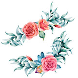 Watercolor asymmetric bouquet with rose and eucalyptus. Hand painted red flowers, eucalyptus leaves and branch isolated on white background. Illustration for design, print or background. - 227106499