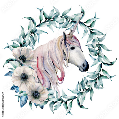 Watercolor wreath with eucalyptus leaves and unicorn. Hand painted floral wreath with branches and white anemones isolated on white background. Illustration for design, print or background. - 227106439
