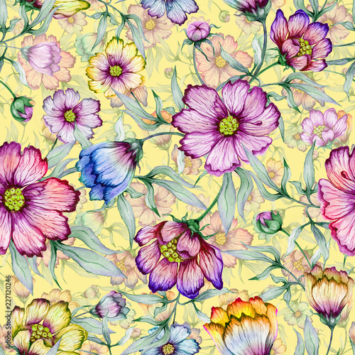 Beautiful colorful cosmos flowers with leaves on yellow background. Seamless floral pattern.  Watercolor painting. Hand painted botanical illustration. © katiko2016