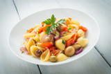 Dish of shell pasta with various vegetables  - 227123001