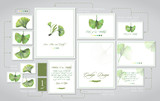 Set for wedding printing: invitations, cards for guests, dress code, tables. Illustration of colored pencils, green leaves of ginkgo biloba. A set of templates with ready-made examples. - 227123899