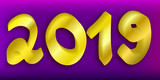 Happy New Year 3D numbers 2019 isolated on violet background. Vector illustration. - 227127667