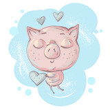 Cute little pig character in love and holding heart in hands vector illustration - 227149822