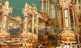 Absract sci-fi construction. 3D fractal art.