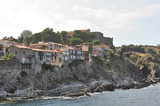 A glimpse of the town of Collioure with its old houses