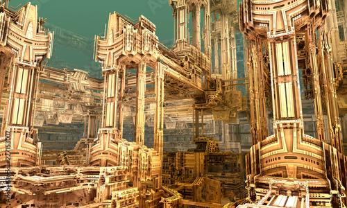 Absract sci-fi construction. 3D fractal art. - 227153007