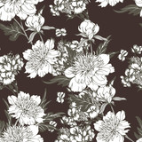 Vintage flowers peonies. Seamless pattern. Vector Illustration for phone case, fabrics, textiles, interior design, cover, paper, gift packaging. - 227154234