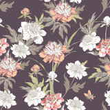 Vintage flowers peonies. Seamless pattern. Vector Illustration for phone case, fabrics, textiles, interior design, cover, paper, gift packaging. - 227154257