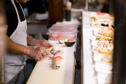 Chef Makes Fresh Plate of Sushi - 227167071