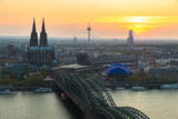 Image of Cologne with Cologne Cathedral and Rhine river during sunset in Cologne, Germany. - 227179463