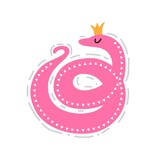 PrintIllustration of a cute snake in a crown in cartoon style. For children's room, prints on children's clothes, postcards, posters, nursery