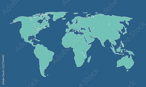 A cool and simple blue world map of different countries and continents vector illustration