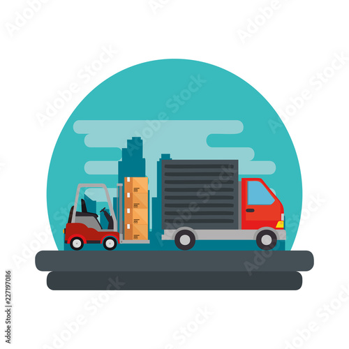 delivery service truck with forklift
