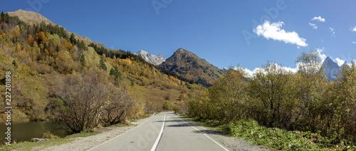 Autumn in mountain national park illuminate sun forest. - 227201898