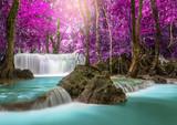 Waterfall in deep rainforest beautiful in autumn,Huay Mae Kamin Waterfall in Thailand Kanchanaburi Province