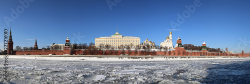 Panoramic View of the Moskva River and the Kremlin (winter day), Moscow, Russia--the most popular view of Moscow - 227216010