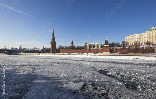 Foto Murales View of the Moskva River and the Kremlin, Moscow, Russia--the most popular view of Moscow