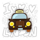London cab - taxi vector illustration. London taxi cartoon design with decoration elements. London cab and taxi fun icon. Classic London Taxi car.