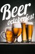 """mugs of beer on grey background with """"beer octoberfest"""" lettering"""