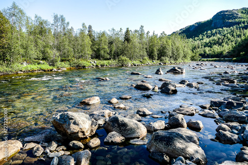 Foto Murales river in the mountains, in Sweden Scandinavia North Europe