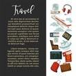 Travel or airplane world tour poster vector flat design for tourism agency or summer vacations.