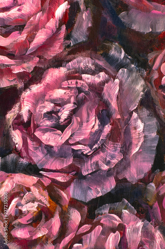 Painting flower canvas background - Oil painting close-up flower. Big red violet flowers rose peony closeup macro on canvas. Modern Impressionism. Impasto artwork. © weris7554