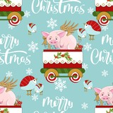 Seamless pattern with Christmas pig on winter background.  For printing on fabric, postcards, paper. Vector illustration.