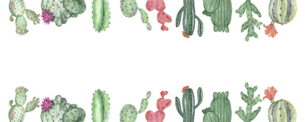 Watercolor banner of multi-colored cacti © Natalia