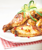 Teriyaki chicken. Baked chicken  with fresh rosemary. Homemade food. Symbolic image. Concept for a tasty and healty dish. Bright wooden background. Close up.  - 227248076