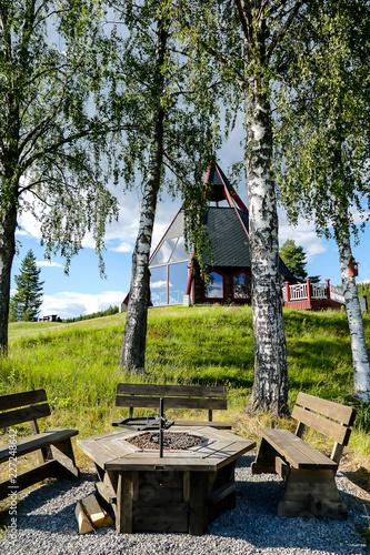 dom w lesie, w Szwecji Skandynawia Północna Europa