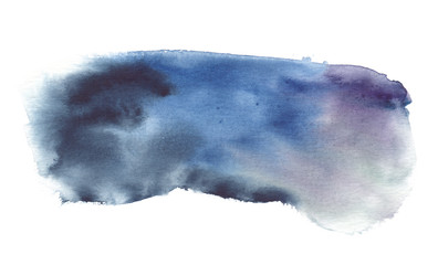Dark blue, purple and black rectangular backdrop painted in watercolor on clean white background © tina bits