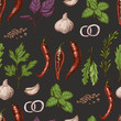 Vector seamless pattern with different color spices and herbs in sketch style