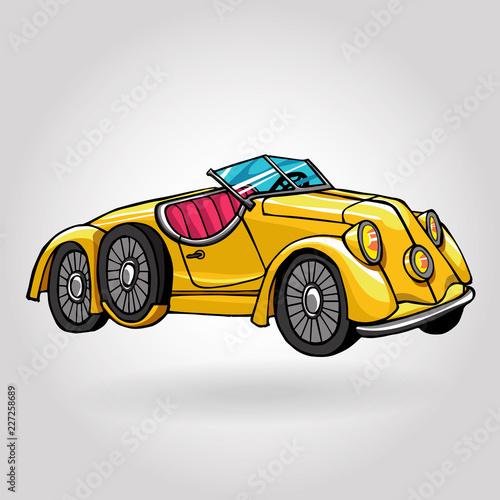 retro vintage hand drawn car - 227258689