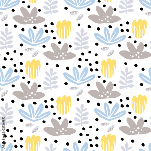 Seamless pattern with bright flowers - 227264852