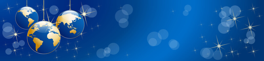 Christmas tree, vector header in blue. Balls in the shape of planet earth, background