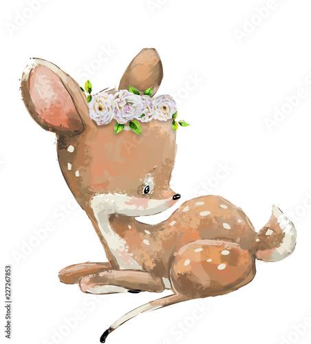 Naklejka Little Cute watercolor lovely deer with flower