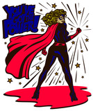 Fototapety Pop art comic book style powerful female superheroine standing with clenched fist female superhero vector illustration