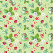Watercolor pattern with berries on a white background. Juicy berries painted by hand in watercolor. - 227276859