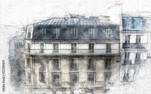 Paris architecture sketch - 227281429