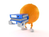Orange character carrying ring binders