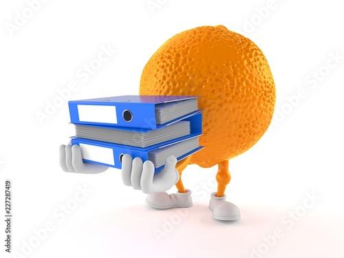 Pomarańczowy znak niosący segregatory